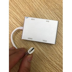 Cáp  Type USB 3.1-C to HDMI + VGA+USB+DVI