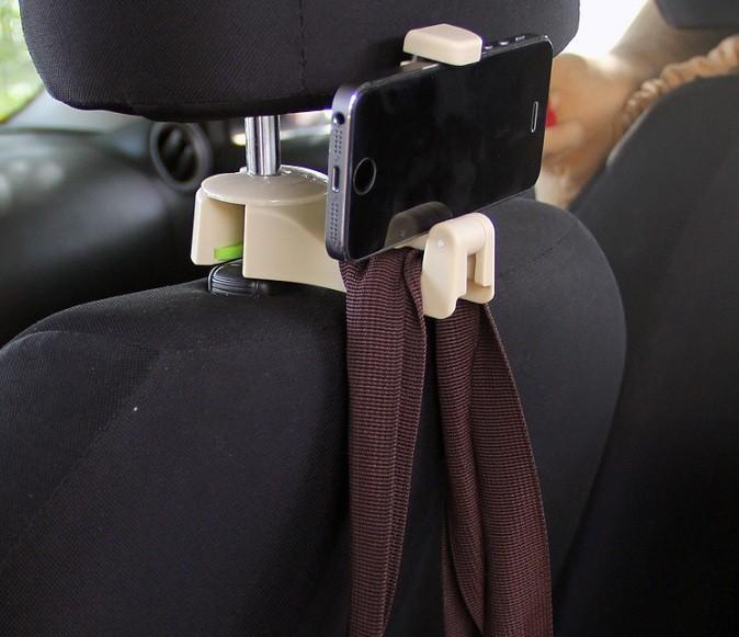 Móc treo đồ kèm giá kẹp điện thoại trên ô tô - moctreodo3 1