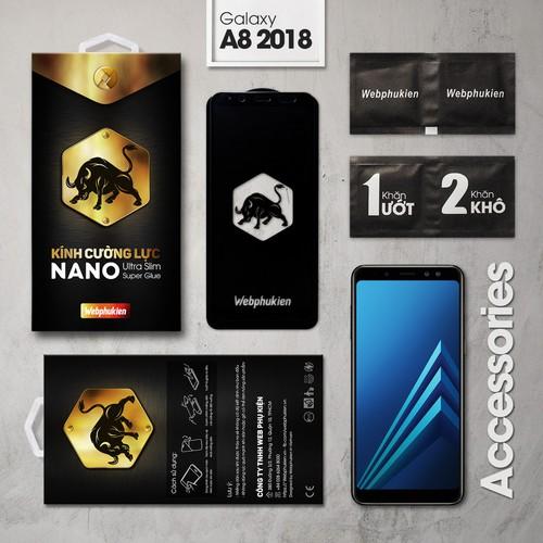 Cường lực Galaxy A8 2018 Full Webphukien đen