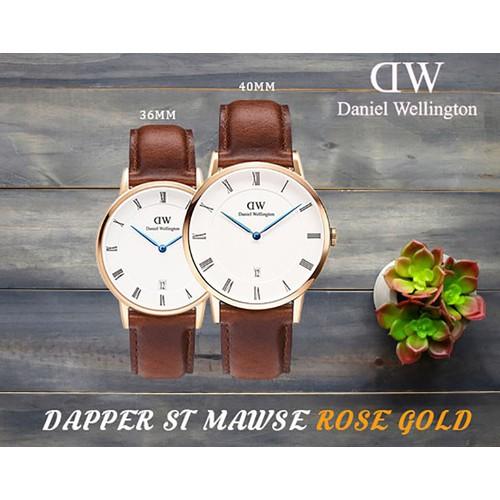 Đồng hồ Nam 38 mm hoặc Nữ 34m Daniel Wellington mặt tròn nền trắng viền vàng mỏng DAPPER ST MAWES