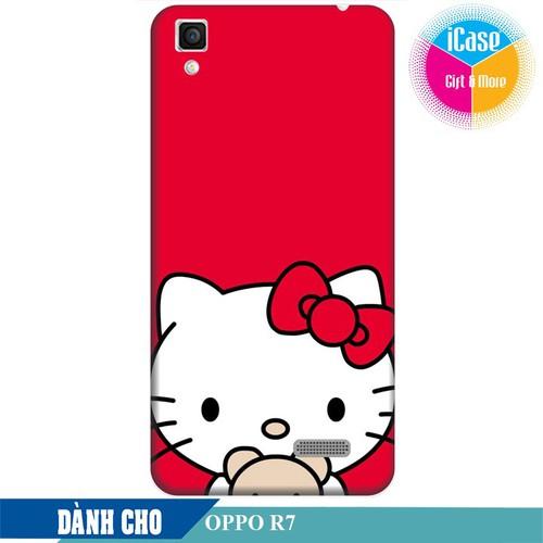 Ốp lưng nhựa dẻo dành cho Oppo R7 in hình Hello Kitty