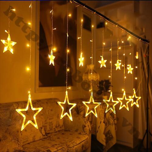 đèn rèm sao màu vàng nắng 6 sao lớn 6 sao nhỏ