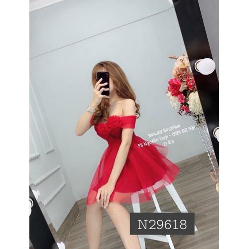 Đầm lưới xòe công chúa trễ vai cực xinh đỏ, hồng, xanh đen
