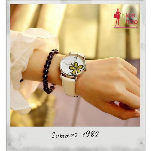 Đồng hồ dây da nữ Yazole hoa mai trẻ trung - DHK074