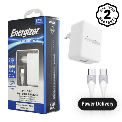 Sạc Energizer 30W PD18W 1USB-C-1USB, kèm cáp USB-C2 màu trắng - AC11PFEUUCC3