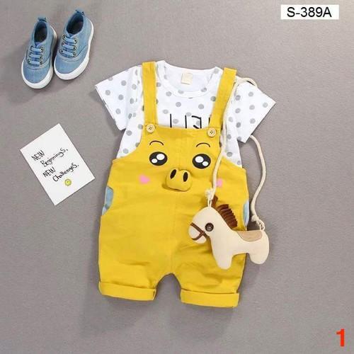 Bộ yếm và áo cộc tay chất cotton cho bé từ 5 đến 19kg - Ms 1