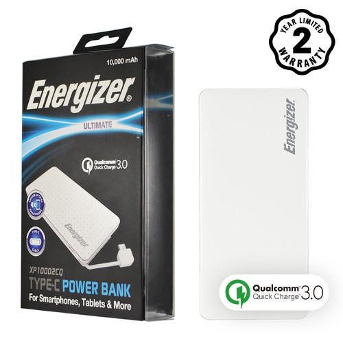 Pin sạc dự phòng Energizer 10,000mAh màu trắng - XP10002CQ Tặng COMBO Cáp rút 80cm Energizer 200,000đ và TÚI CHỐNG SỐC