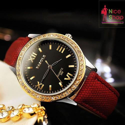 Đồng hồ dây da nữ Yazole dây da đính đá - DHK073