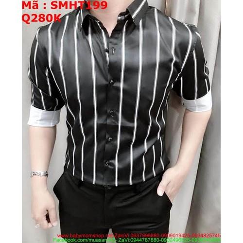Áo sơ mi nam dài tay đen sọc trắng nhỏ sành điệu SMHT199 - 7102399 , 13832061 , 15_13832061 , 280000 , Ao-so-mi-nam-dai-tay-den-soc-trang-nho-sanh-dieu-SMHT199-15_13832061 , sendo.vn , Áo sơ mi nam dài tay đen sọc trắng nhỏ sành điệu SMHT199