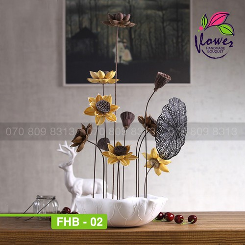 Hoa khô- BỘ HOA SEN KHÔ TRANG TRÍ NỘI THẤT - FHB02