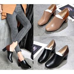 Giày loafer đế vuông da trơn phối màu - Giày đế vuông