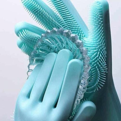 Găng tay silicon 2 trong 1 giữ ấm và rửa bát chén