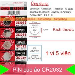 Pin dùng cho Bios Máy tính để bàn Máy tính tiền Đồng hồ điện tử Điều khiển từ xa.v.v. Mã CR2032-BR2032-CR2332-BR2332-DL2032-SB-T15-2032-EA2032C-ECR2032-L14-L2032-LF1 Maxell 1 vỉ 5 viên