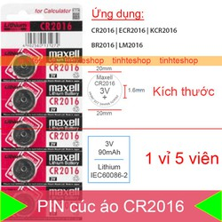 Pin CR2016 ECR2016 KCR2016 BR2016 LM2016 dùng cho Điều khiển từ xa, Máy tính tiền, Đồng hồ.v.v. Lithium 3V-150mAh Maxell – 1 vỉ 5 viên