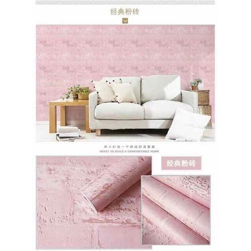 giấy dán tường gạch hồng sẵn keo