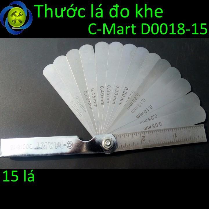 Thước lá đo khe C-Mart D0018-15 15 lá 0.05-0.63mm 1