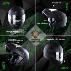 Mũ bảo hiểm lật hàm Royall M179 2 kính vân carbon cao cấp