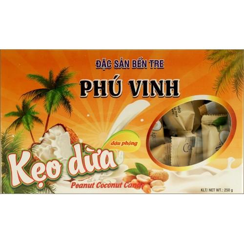 250g Kẹo dừa Phú Vinh đậu phộng đặc sản bến tre kẹo dừa lạc - Peanut coconut candy