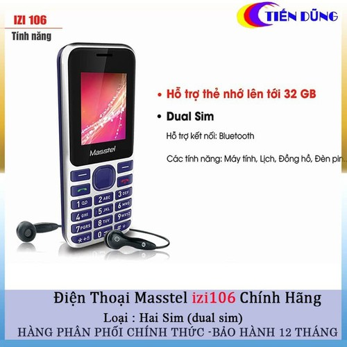 Điện Thoại Di Động Masstel Izi 106 Có Bluetooth FM Hỗ Trợ 2 Sim