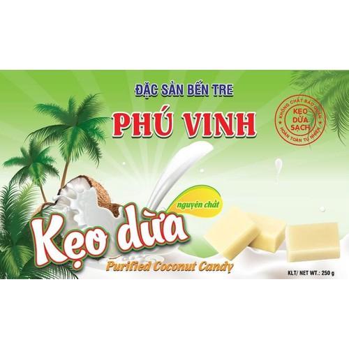 250g Kẹo dừa Phú Vinh nguyên chất đặc sản bến tre kẹo dừa lạc -  Purified coconut candy