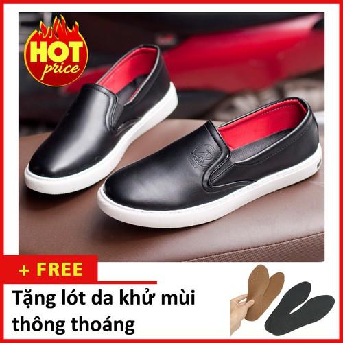 Giày Nam Đẹp -Giày Slip On Nam Aroti Đế Khâu Chắc Chắn Phong Cách Đơn Giản Màu Đen - M498-DEN-L