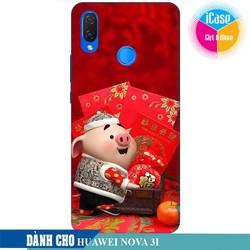 Ốp lưng nhựa dẻo dành cho Huawei Nova 3i in hình Heo Con Mừng Tuổi