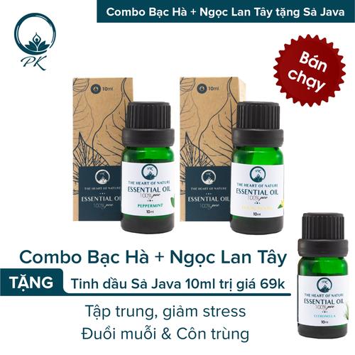 [TẶNG tinh dầu Sả Java] Combo tinh dầu Bạc Hà - tinh dầu Ngọc Lan Tây PK 10ml