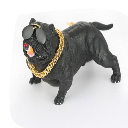 Tượng taplo chú chó Bull Mỹ 72608 màu đen trang trí taplo xe hơi