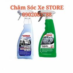 Bộ Sản phẩm Sonax: Chai Xịt Khử Mùi Nội Thất Ô tô Sonax 292241 + Wax Bóng Sơn Sonax 287400
