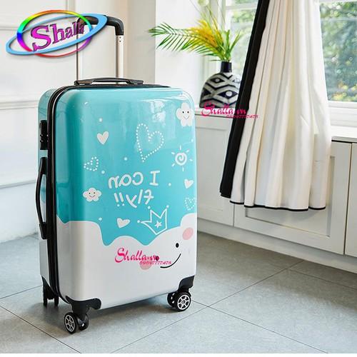 Vali nhựa 24 inch hoạ tiết travel Xanh3D Shalla