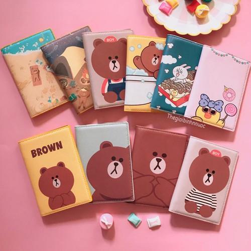 Ví đựng Hộ Chiếu Passport Cover Kakao Friend Gấu Thỏ Vịt Line V2A