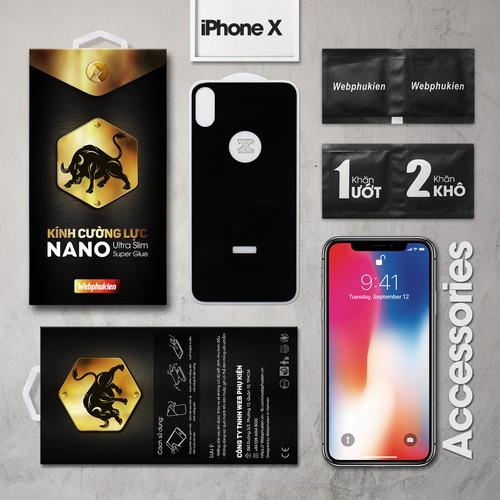Kính cường lực iPhone-X mặt sau Full Webphukien đen