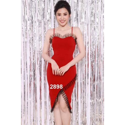 Đầm body đỏ phối