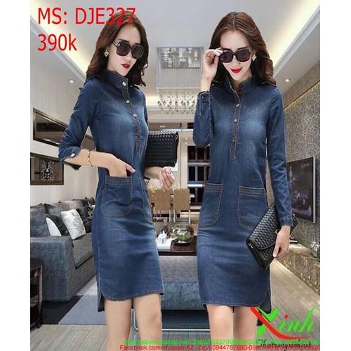 Đầm jean nữ công sở dài tay phối túi xinh đẹp DJE327