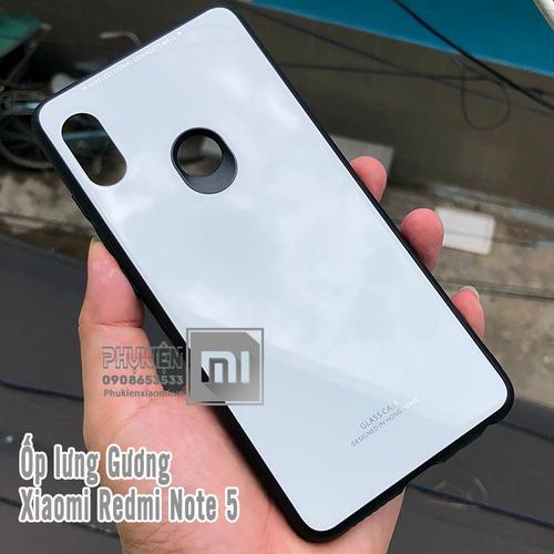 Ốp lưng kính XM Redmi Note 5 - Note 5 Pro Mặt kính cứng - viền dẻo - trắng