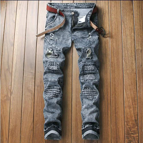 Quần jeans ống côn rách chắp vá Mã: ND1351
