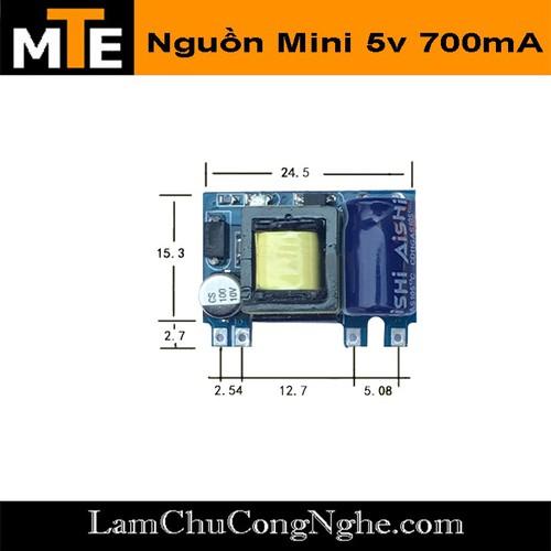 Module Nguồn Hạ Áp Mini 220V -5v 700mA 1 Hàng Chân