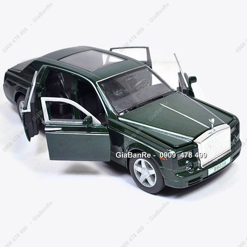 Xe mô hình kim loại tỉ lệ :32 - rolce royle phantom - mở 4 cửa - 18cm - xanh