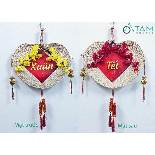 Vòng hoa treo cửa Tết Handmade quạt nan số 17 2 mặt