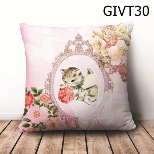 Gối vuông Mèo con cute GVHT30