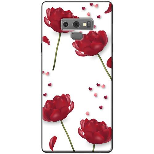 Ốp lưng nhựa dẻo Samsung_Note_9 Hoa đỏ nền trắng