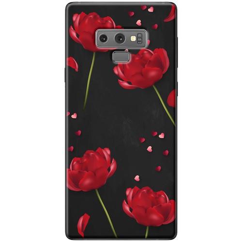 Ốp lưng nhựa dẻo Samsung_Note_9 Hoa đỏ nền đen