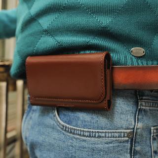Bao da đựng 2 điện thoại đeo hông- - Da bò nhập khẩu - Đồ da Handmade - BD024_002_001 thumbnail