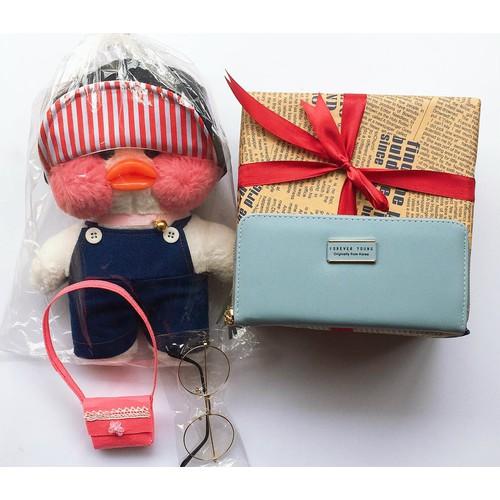 C06 Combo quà tặng lễ tình yêu vịt má hồng và túi, ví