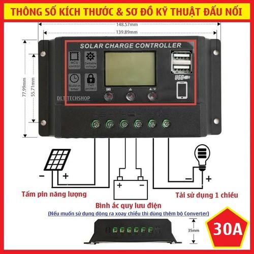 Bộ Điều Khiển Tấm Pin Năng Lượng Mặt Trời 30A 12V-24V 2 cổng USB 5v-2A - 7129294 , 13852211 , 15_13852211 , 300000 , Bo-Dieu-Khien-Tam-Pin-Nang-Luong-Mat-Troi-30A-12V-24V-2-cong-USB-5v-2A-15_13852211 , sendo.vn , Bộ Điều Khiển Tấm Pin Năng Lượng Mặt Trời 30A 12V-24V 2 cổng USB 5v-2A