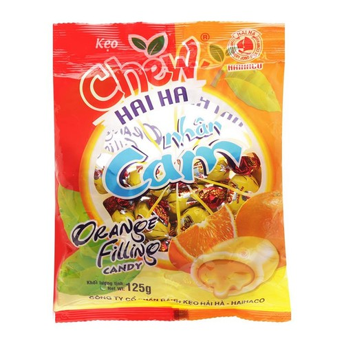 Năm gói kẹo Chew nhân cam Hải Hà 125g