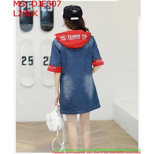 Đầm jean nữ có nón màu đỏ phối tứi xinh đẹp DJE307