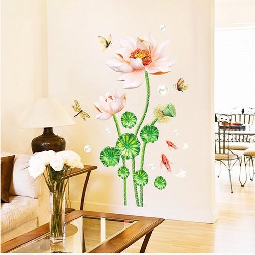 Giấy dán tường hoa sen khoe sắc trang trí phòng sang trọng