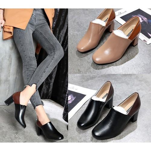 Giày loafer đế vuông da trơn phối màu