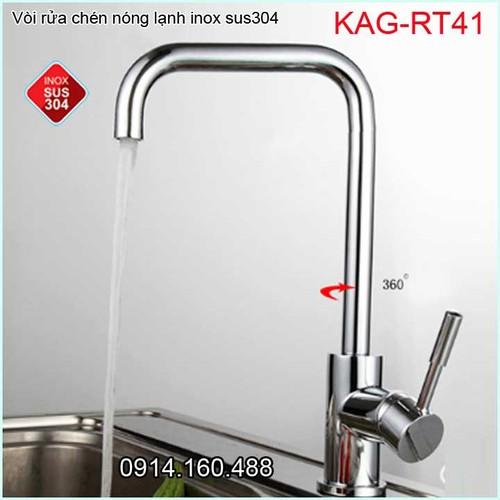 Vòi rửa chén bát nóng lạnh inox 304, Vòi bếp Inox Lucky KAG-RT41